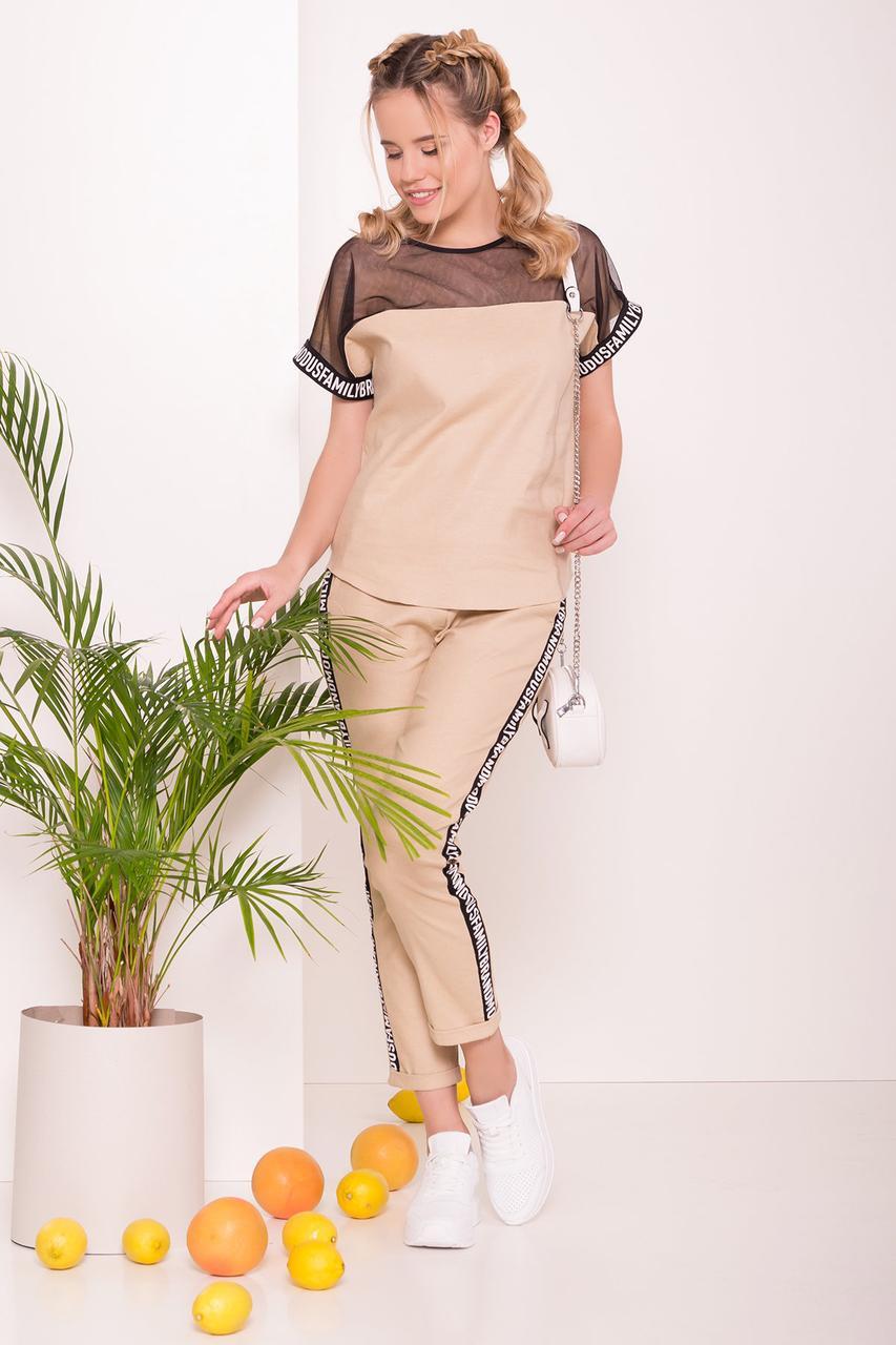 Стильный и необычный костюм двойка брюки и блуза (S, M, XL) бежевый