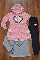 Спортивный трикотажный костюм тройка для девочек.Размеры 116-146 см.Фирма S&D. Венгрия, фото 1