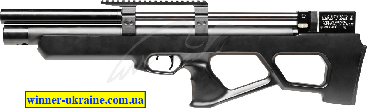 Пневматична гвинтівка PCP Raptor 3 Standart HP кал. 4,5 мм. Колір - чорний (чохол в комплекті)