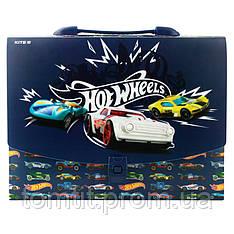 Портфель - коробка пластиковый «Hot Wheels» на защелке, ТМ Kite