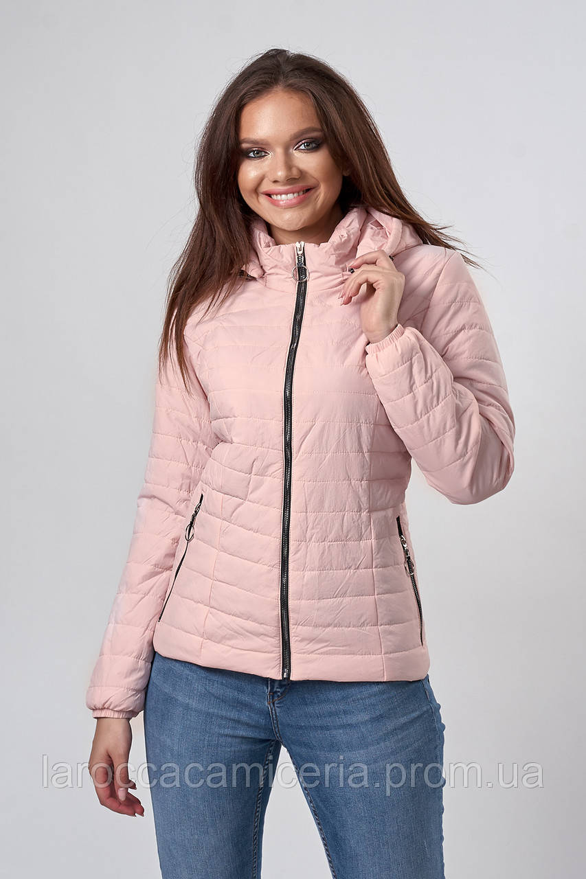 Женская демисезонная куртка. Код модели К-115-38-19. Цвет пудра.