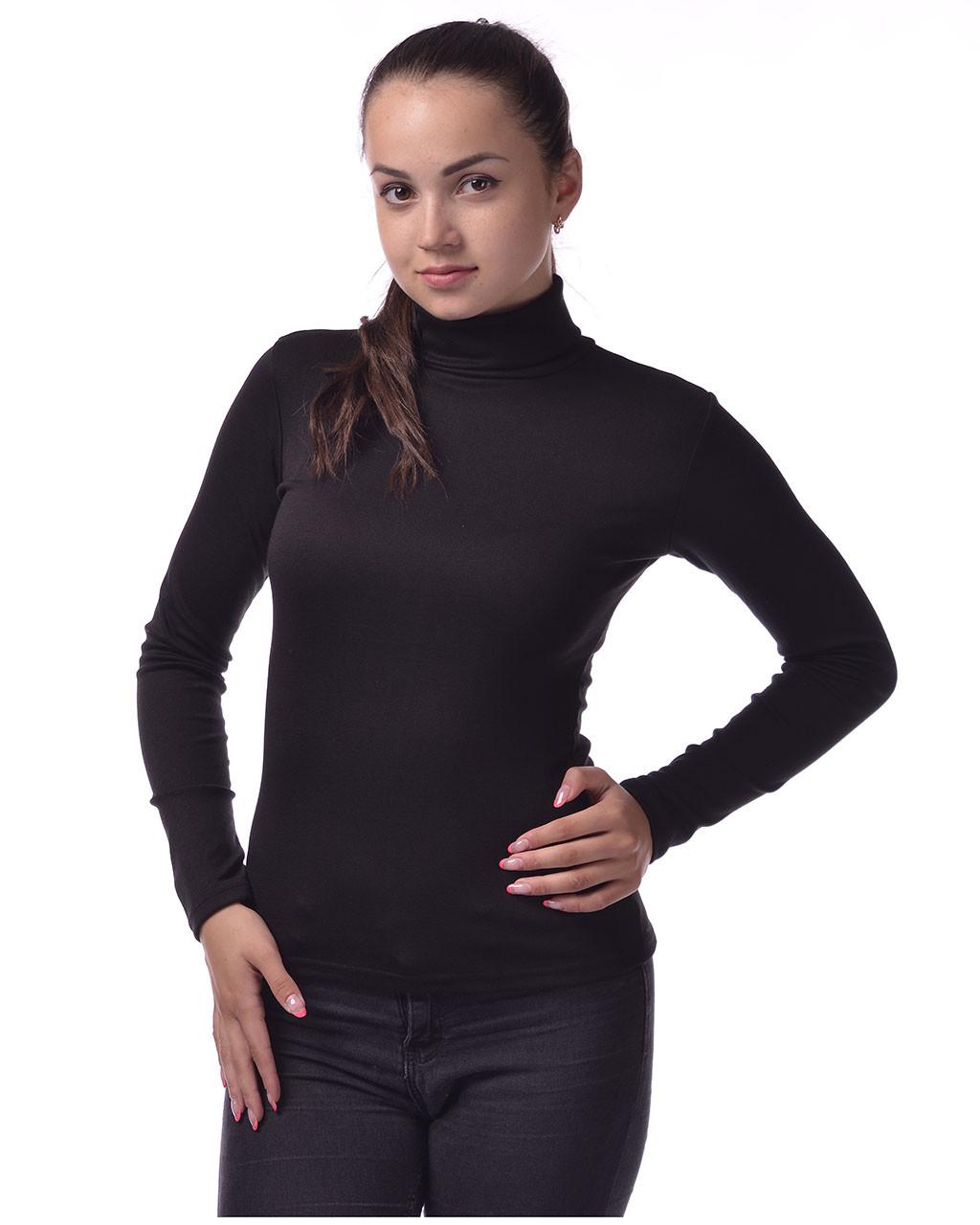 Водолазка женская гольф из полушерсти ХЛ(52-56), черный