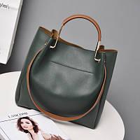 Женская большая сумка Mei&Ge металлическим ручками и ремешком зеленая, фото 1