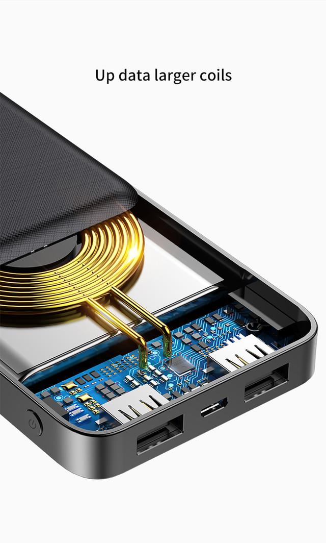 Внешняя аккумуляторная батарея / повербанк с беспроводной зарядкой Baseus M36 10000mAh Power bank Черная PPALL-M3601
