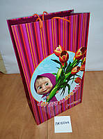"""Пакет детский вертикальный, тюльпаны. малиновый """"Маша и медведь"""""""
