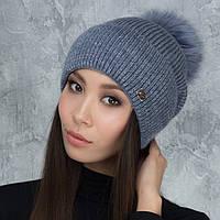 Женская шапка «Имидж» с цветным пампоном