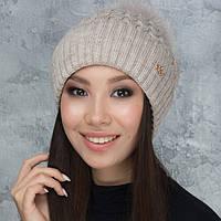Женская шапка «Камилла» с цветным пампоном