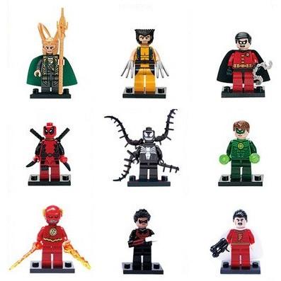 Фигурки Marvel DC лего супергерои  Локи Логан Робин Дедпул Веном Зеленый фонарь Шазам Флэш