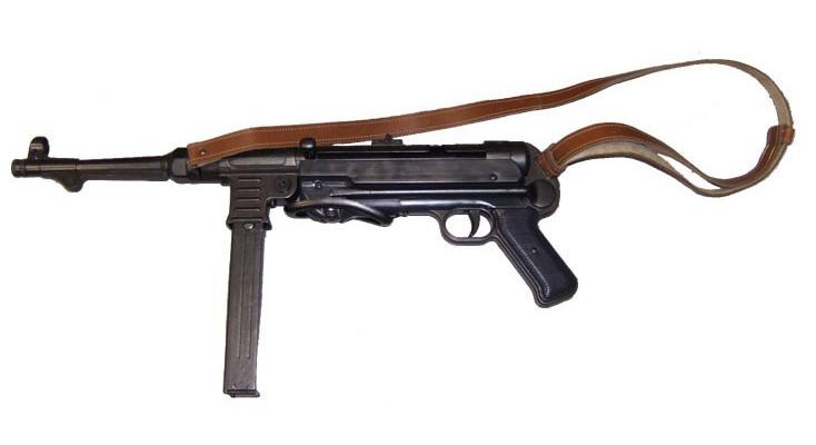Коллекционное оружие Макет автомата Шмайсер MP40 Метал с кожаным ремнем (DA)