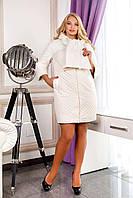 Пальто женское демисезонное, цвет белый В-971 Colibri Anqora AGU+Лаке Тон 50 | 48-56р.