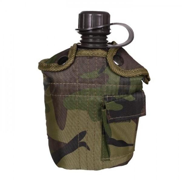 Пластиковая фляга 1л в чехле MilTec Woodland 14505020