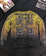 Мужской свитшот OFF-White (черный с желтым) (реплика А+)