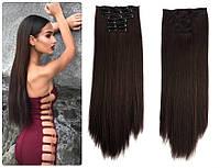 Волосы трессы  ТЕРМО на заколках 7 прядей длина 60см №4 темно-коричневый
