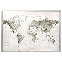 IKEA BJORKSTA (291.977.46) Картина с рамкой, планета Земля серо-белая, серебристая