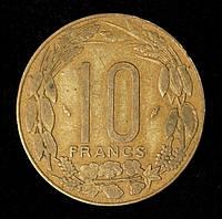Монета Центрально-Африканских штатов 10 франков 1975 г. Антилопы