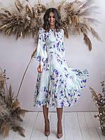 Платье миди мятное в цветочный принт