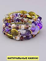 Браслет Аметист, Агат 60 см. - женский браслет из натуральных камней 'FJ'