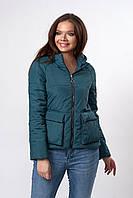 Женская молодежная демисезонная куртка. Код модели К-144-37-19. Цвет изумруд.
