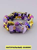 Браслет Аметист, Агат 55 см. - женский браслет из натуральных камней 'FJ'