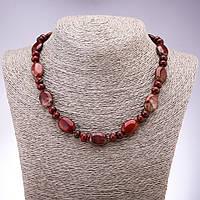 Бусы из натурального камня Яшма красная плоский овал рондель