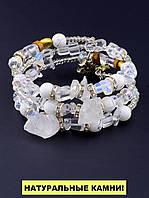 Браслет Горный хрусталь, Агат 55 см. - женский браслет из натуральных камней 'FJ'