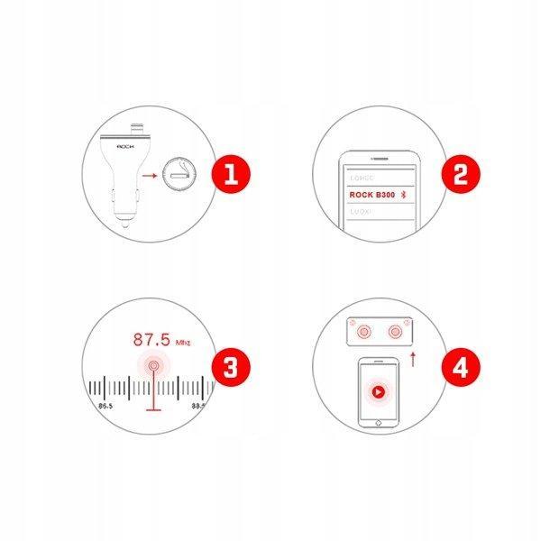 FM трансмиттер модулятор Rock B300 Bluetooth c функцией зарядного устройства (Черный, два USB-порта)