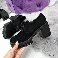 Черные замшевые туфли на устойчивом каблуке 37-23,5 см