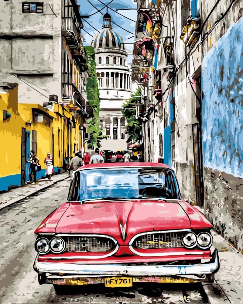 """Картина по номерам. Brushme """"Винтажное авто в старой Гаване"""" GX8934"""