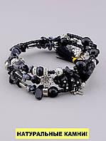 Браслет Агат, Обсидиан 60 см. - женский браслет из натуральных камней 'FJ'