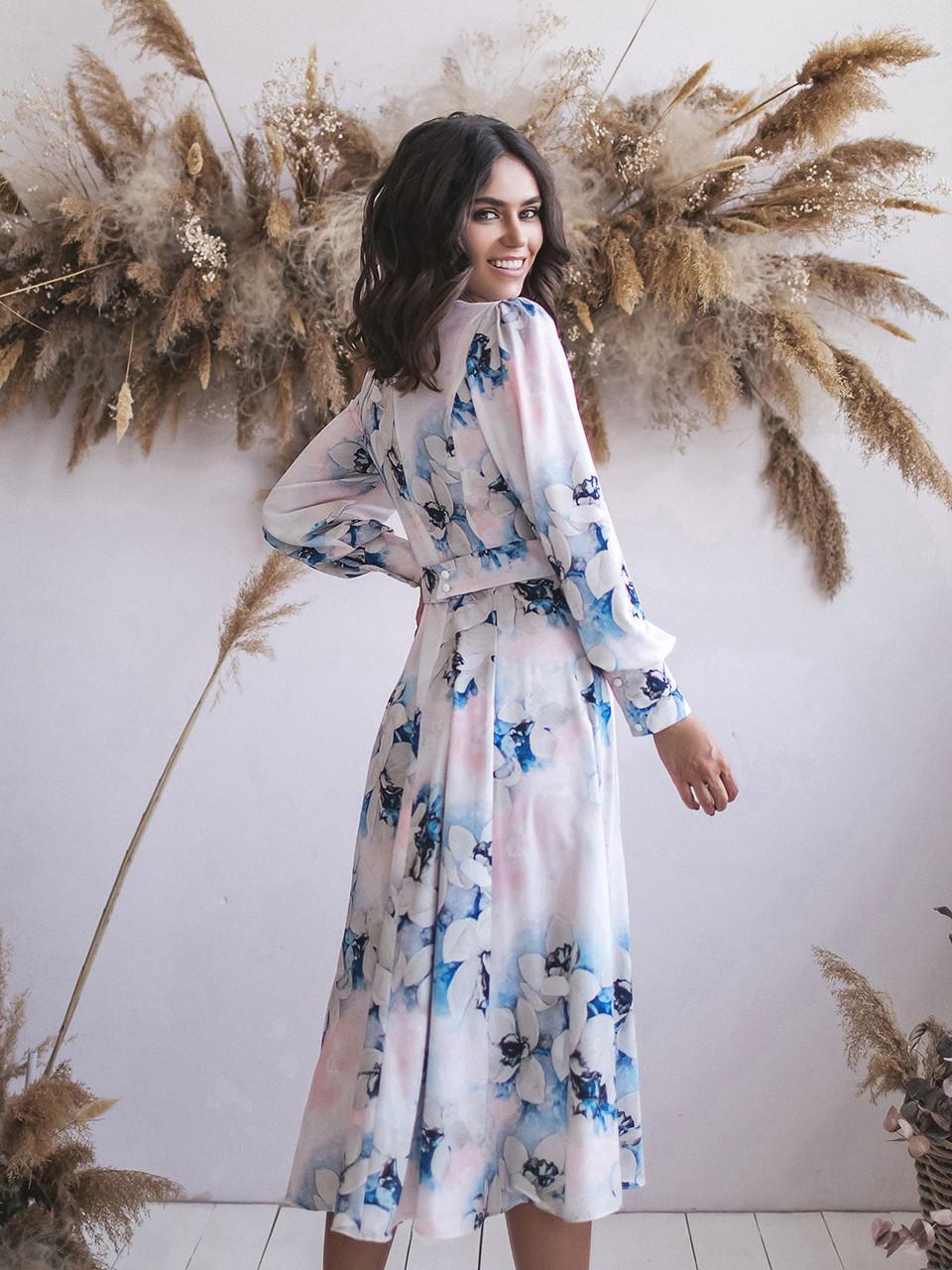 Платье миди пудра в цветочный принт