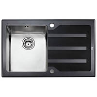 Кухонная мойка из нержавеющей стали с черным стеклом Teka LUX 1B 1D RHD 78 12129006