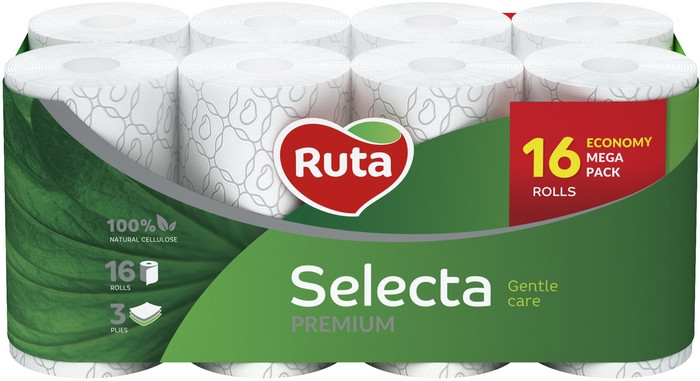 Туалетная бумага Ruta Selecta 16рул 3с белая