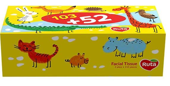 Салфетки косметические Ruta Kids, Белые, 155л, 2-слойные, пенал