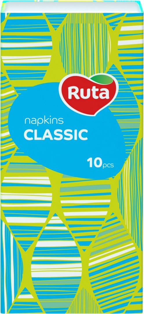 Носовые платочки Ruta 10х10, Без аромата, 3-слойные