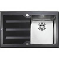 Кухонная мойка из нержавеющей стали с черным стеклом Teka LUX 1B 1D RHD 78 12129007