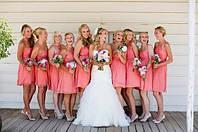 Платья подружек невесты  персиковые 20 цветов