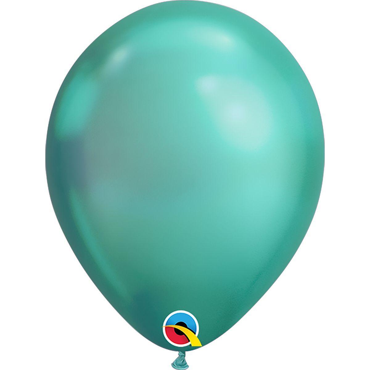 """Куля 7"""" (18 см) Qualatex хром GREEN (зелений)"""