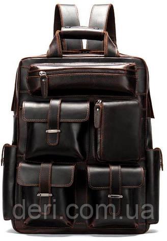 Рюкзак дорожный Vintage 14711 кожаный Темно-Коричневый, Коричневый, фото 2