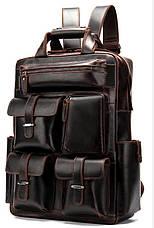 Рюкзак дорожный Vintage 14711 кожаный Темно-Коричневый, Коричневый, фото 3