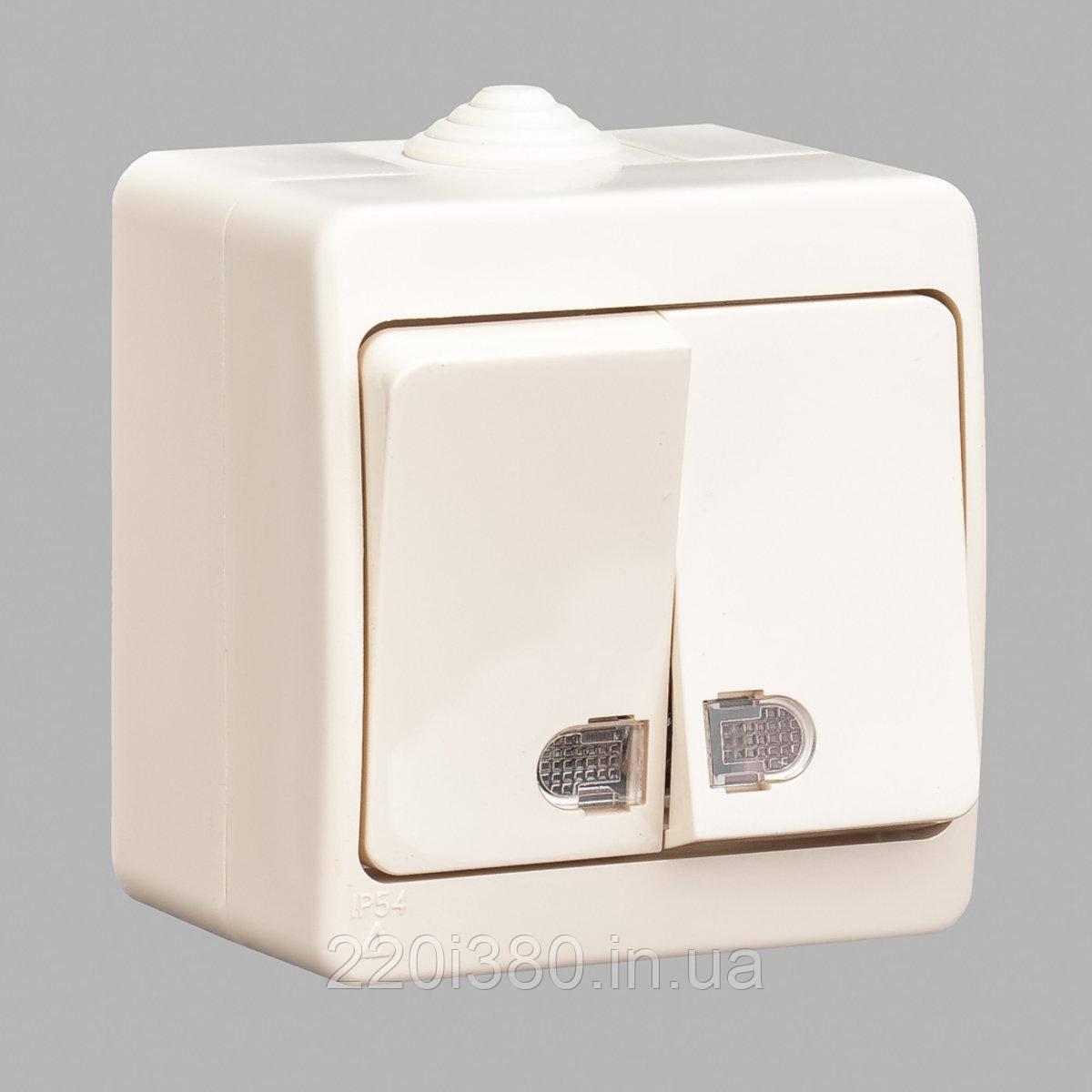 Nemli выключатель 2-ой с подсветкой влагозащищенный кремовый