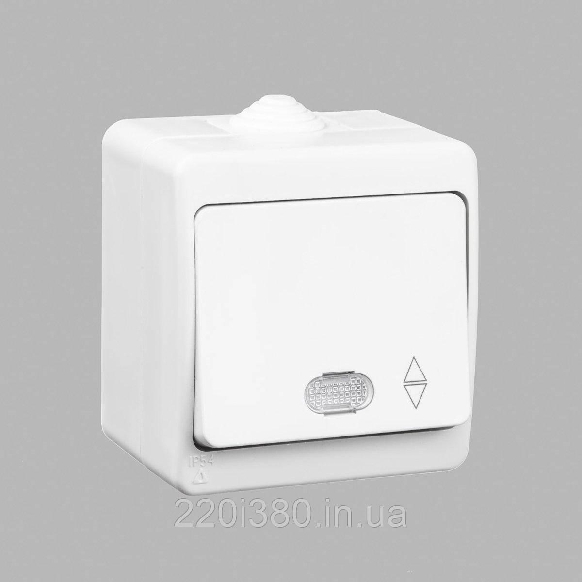 Nemli выключатель проходной 1-ый с подсветкой влагозащищенный белый