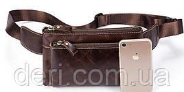 Поясная сумка гладкая Vintage 14738 Коричневая, Коричневый