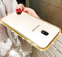 Силиконовый чехол для Samsung Galaxy J7 J730 2017 со стразами, фото 1