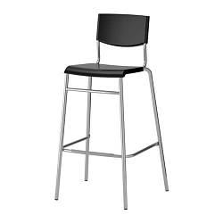 ИКЕА (IKEA) СТИГ, 801.552.05, Стул барный, черный, серебристый, 74 см