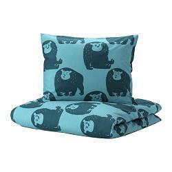 ИКЕА (IKEA) DJUNGELSKOG, 303.937.08, Комплект постельного белья, обезьяна, синий, 150x200/50x60 см - ТОП ПРОДАЖ