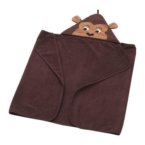 ИКЕА (IKEA) DJUNGELSKOG, 103.938.27, Полотенце с капюшоном, обезьяна, коричневый, 70x140 см - ТОП ПРОДАЖ