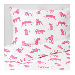 ИКЕА (IKEA) URSKOG, 104.027.56, Комплект постельного белья, тигр, розовый, 150x200/50x60 см - ТОП ПРОДАЖ