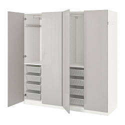 ИКЕА (IKEA) ПАКС, 091.793.38, Гардероб, белый, Фардал глянцевый светло-серый, 200x60x201 см
