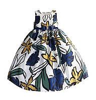 Платье для девочки без рукавов Листочек Zoe Flower Белое в синие цветы (51318)