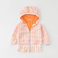 Ветровка детская для девочки на молнии с капюшоном Квадраты Jumping Beans Оранжевая (51323)